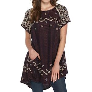 Free People in the clouds embroidered top tunic